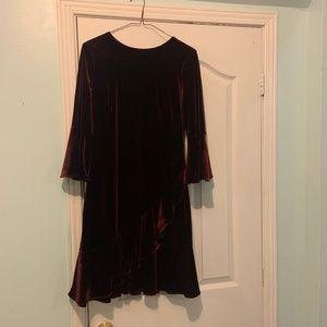 Ralph Lauren Burgundy Velvet Dress Bell Sleeves